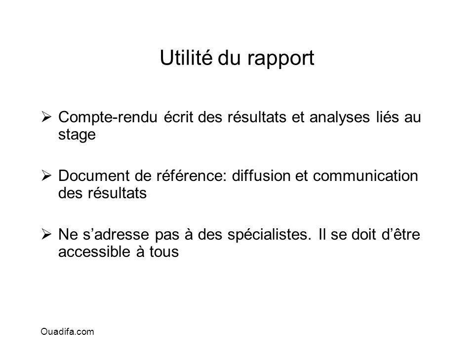 Utilité du rapport Compte-rendu écrit des résultats et analyses liés au stage. Document de référence: diffusion et communication des résultats.