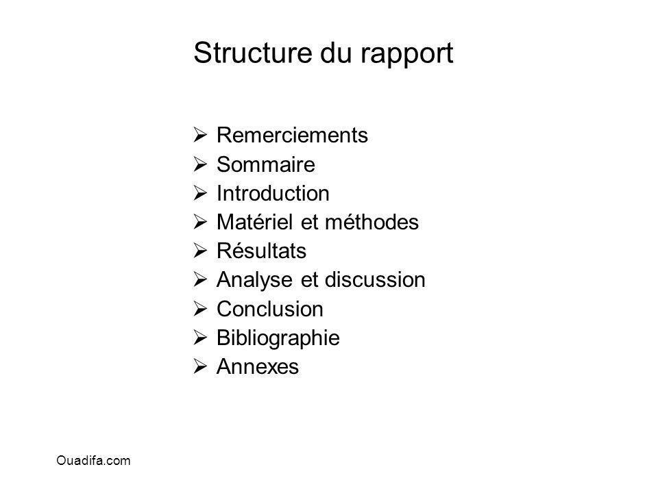Structure du rapport Remerciements Sommaire Introduction