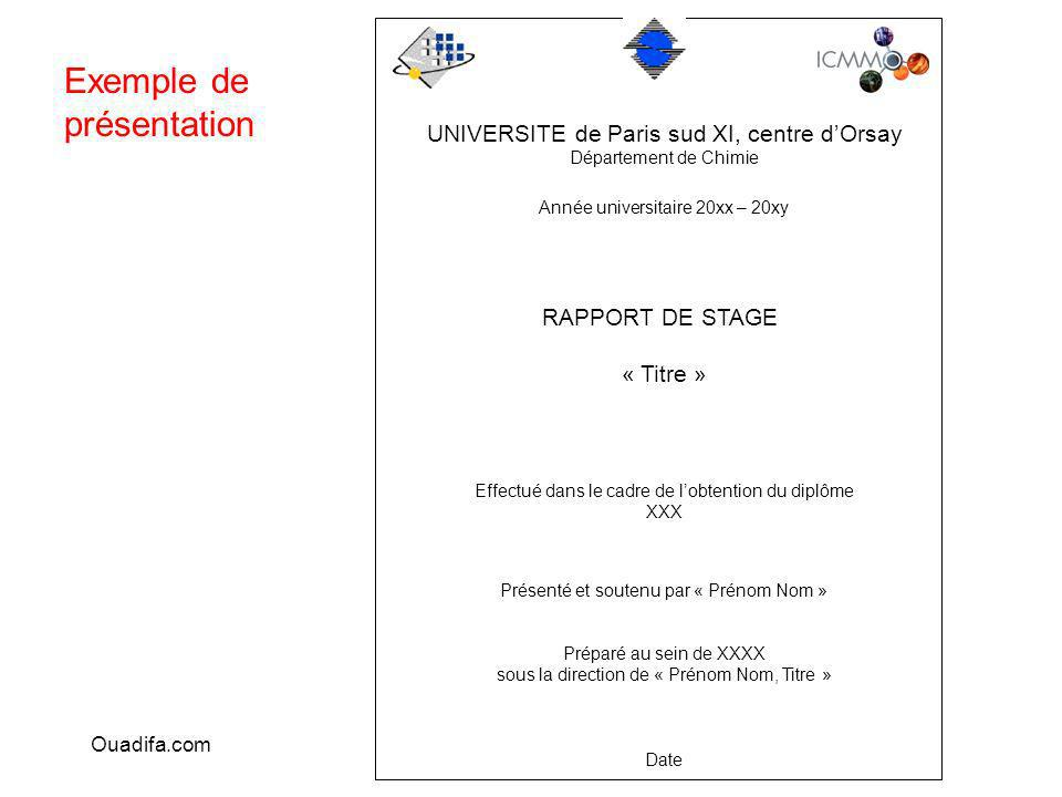 exemple rapport de stage master 1 chimie