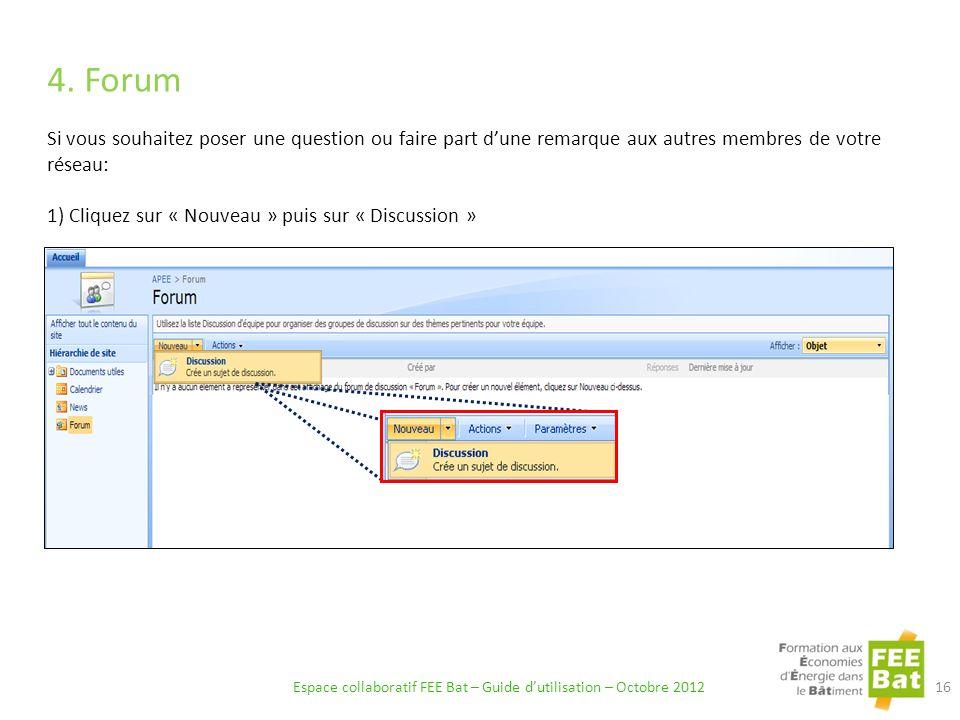 Espace collaboratif FEE Bat – Guide d'utilisation – Octobre 2012