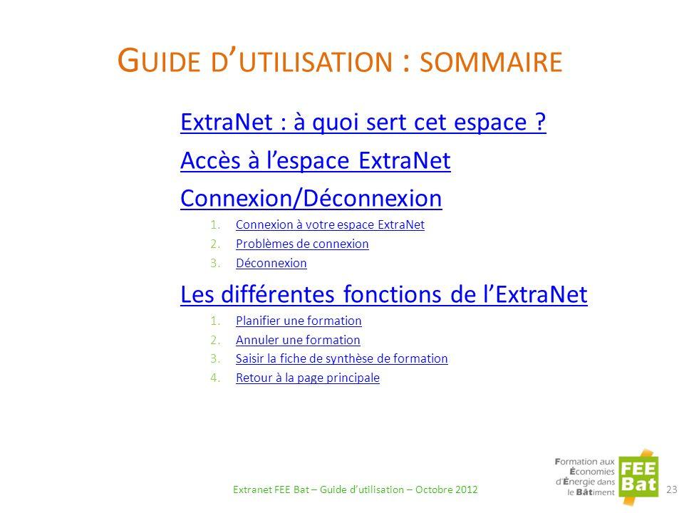 Guide d'utilisation : sommaire