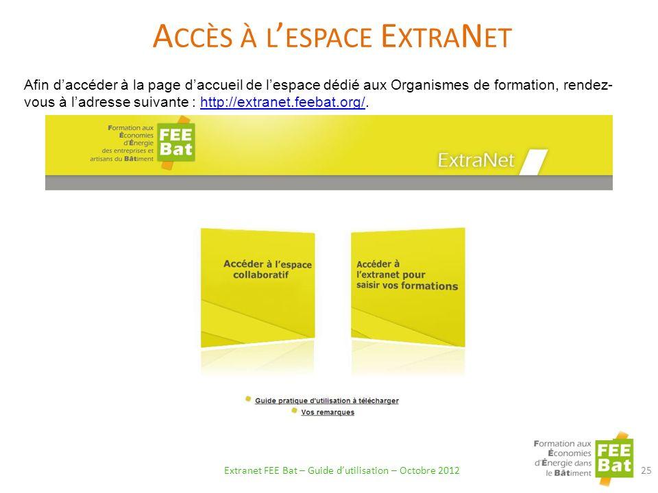 Accès à l'espace ExtraNet