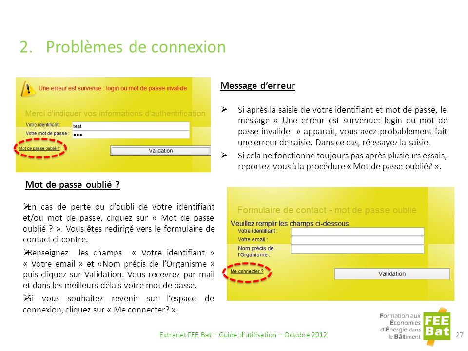 Extranet FEE Bat – Guide d'utilisation – Octobre 2012