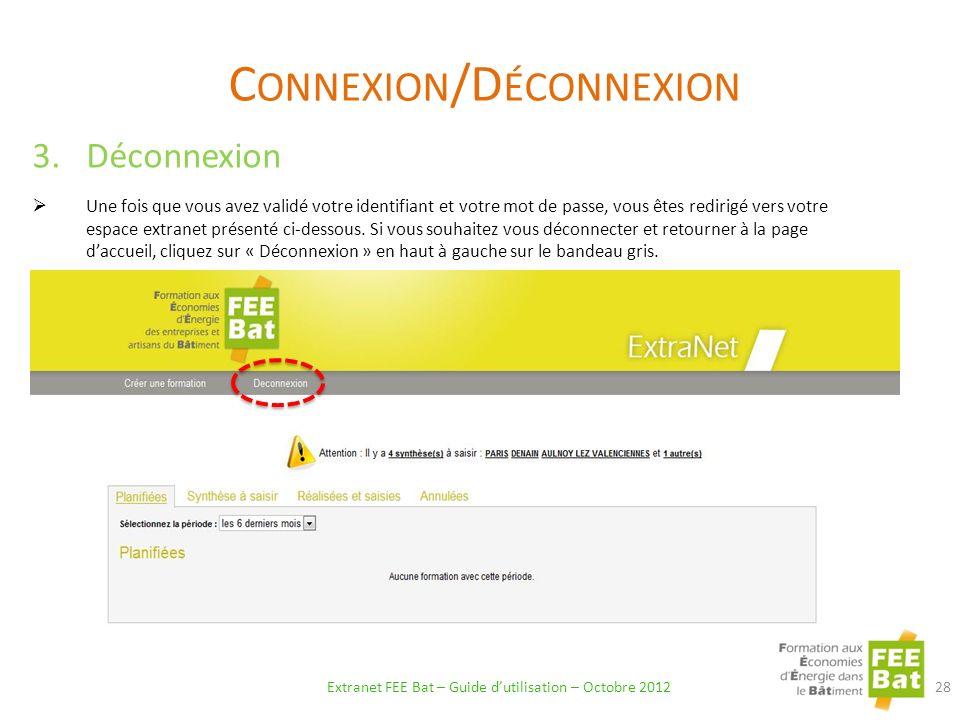 Connexion/Déconnexion