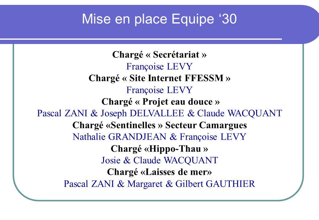 Mise en place Equipe '30 Chargé « Secrétariat » Françoise LEVY