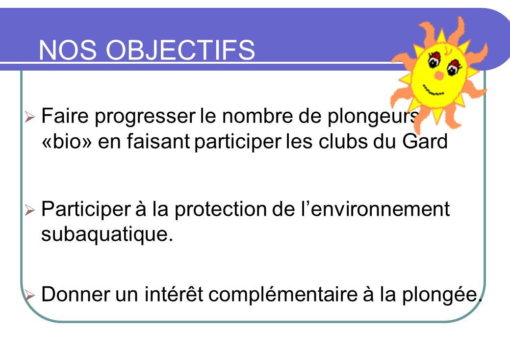 NOS OBJECTIFS Faire progresser le nombre de plongeurs «bio» en faisant participer les clubs du Gard.
