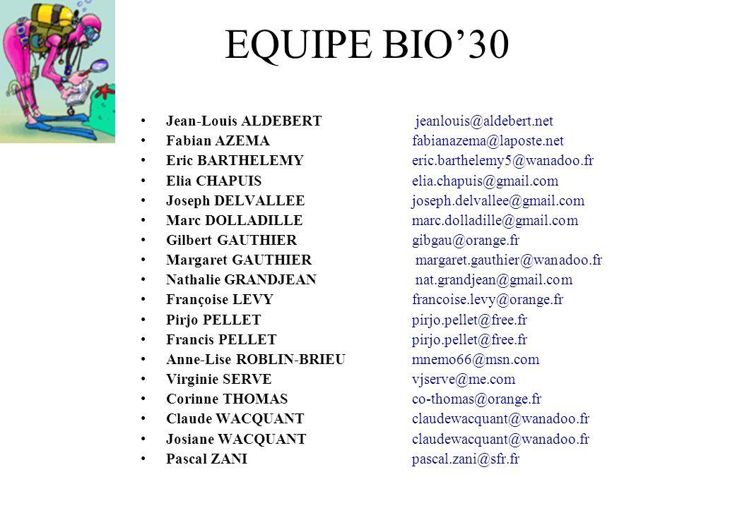 EQUIPE BIO'30 Jean-Louis ALDEBERT jeanlouis@aldebert.net