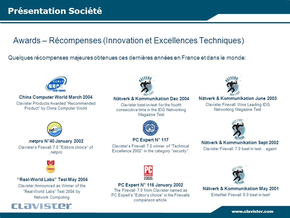 Awards – Récompenses (Innovation et Excellences Techniques)