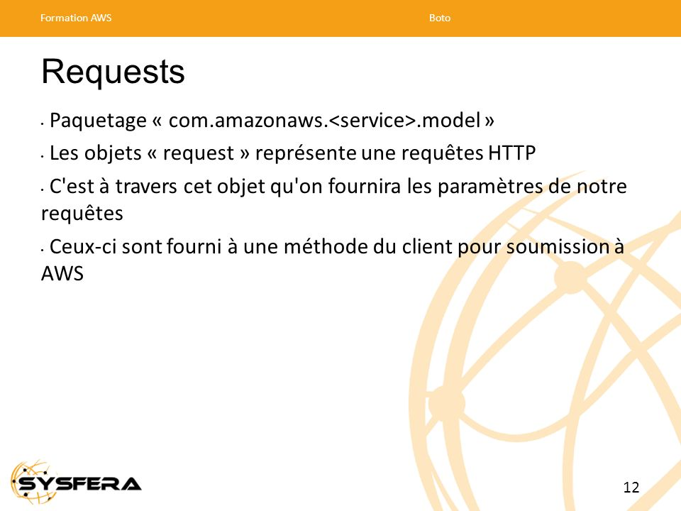 Requests Paquetage « com.amazonaws.<service>.model »