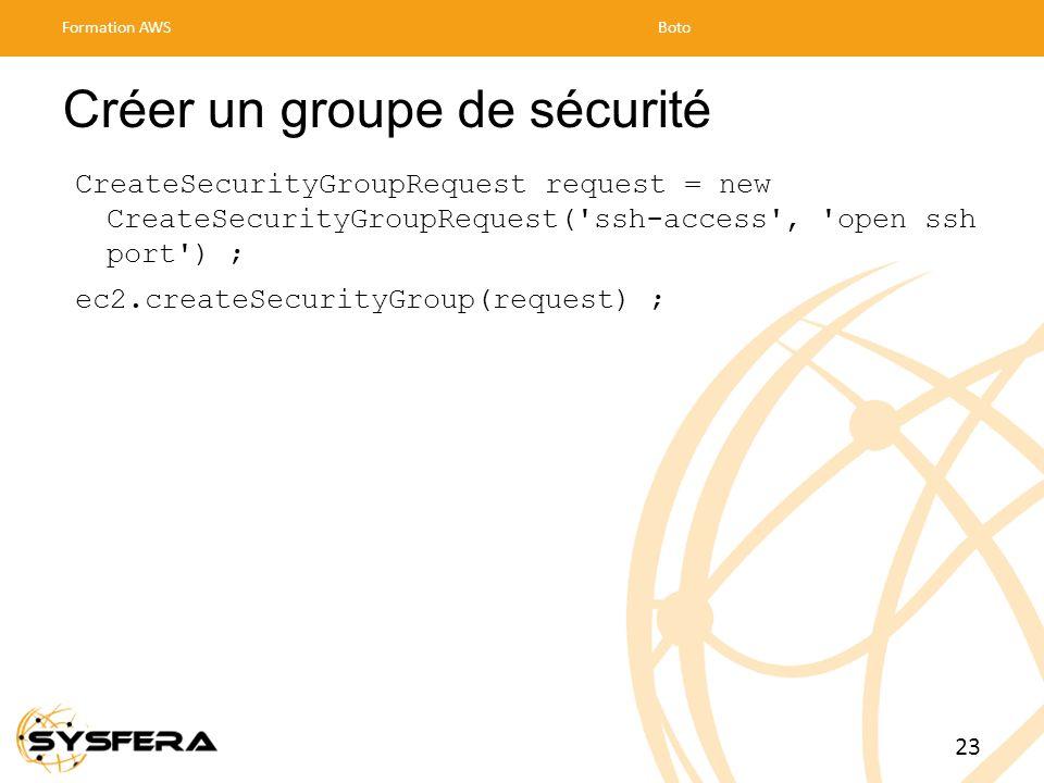 Créer un groupe de sécurité