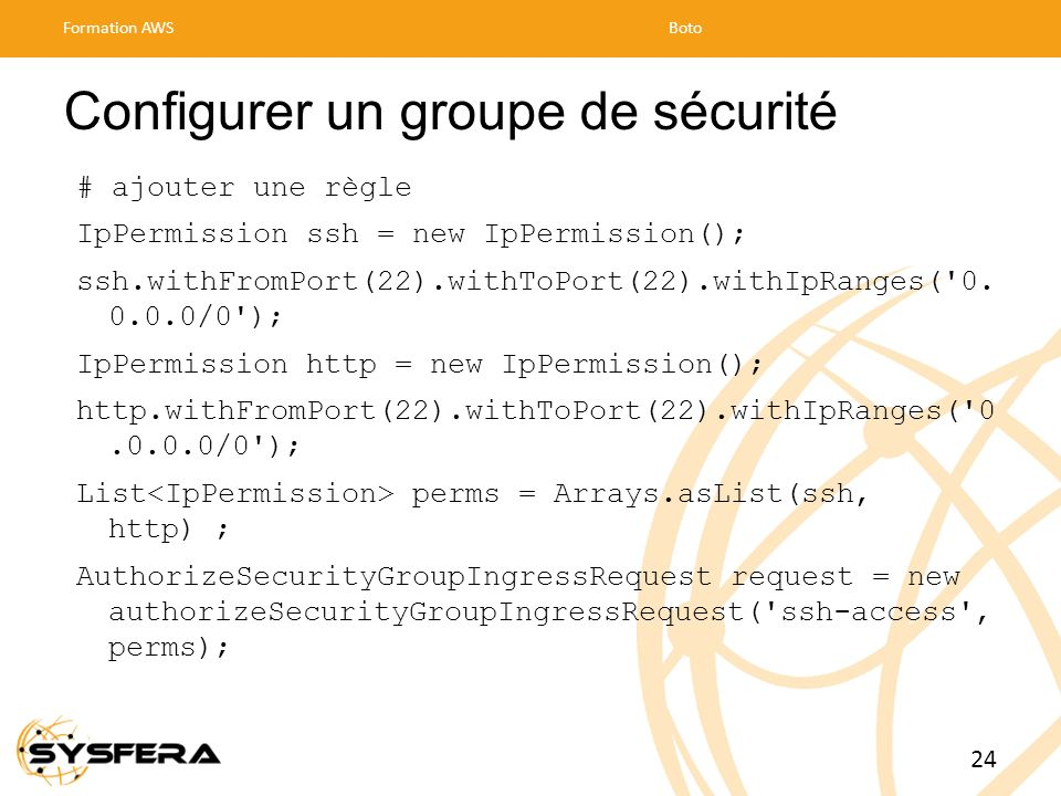Configurer un groupe de sécurité