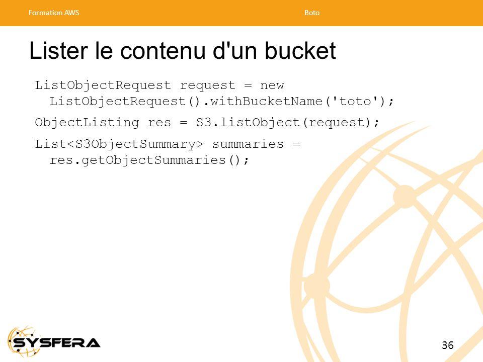 Lister le contenu d un bucket