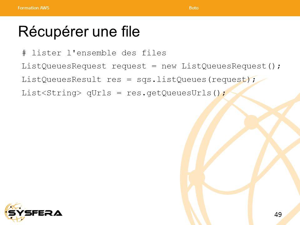 Récupérer une file # lister l ensemble des files