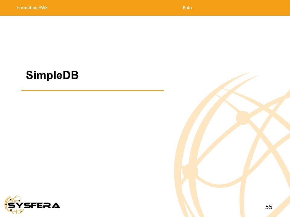 Formation AWS Boto SimpleDB 55 55 55 55