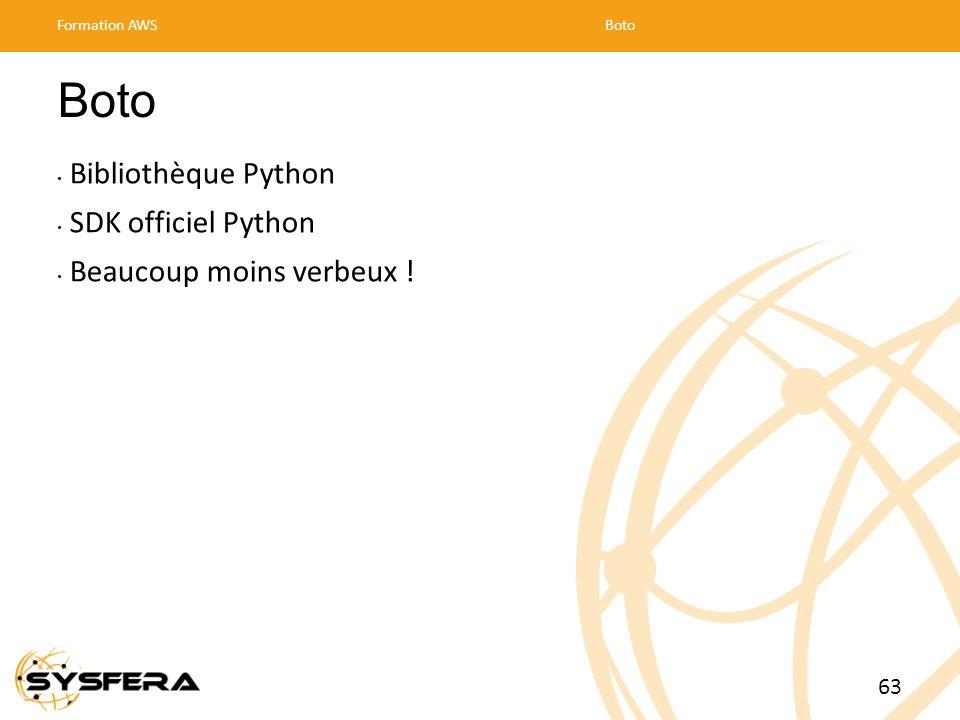 Boto Bibliothèque Python SDK officiel Python Beaucoup moins verbeux !