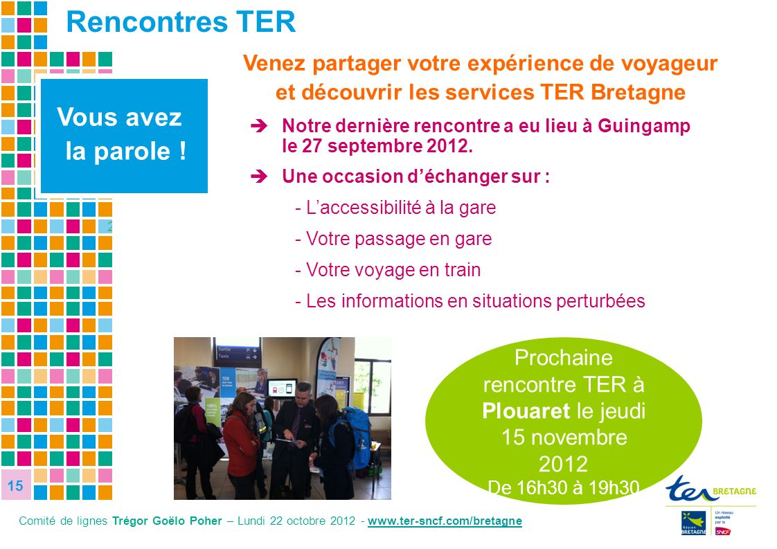Prochaine rencontre TER à Plouaret le jeudi 15 novembre 2012