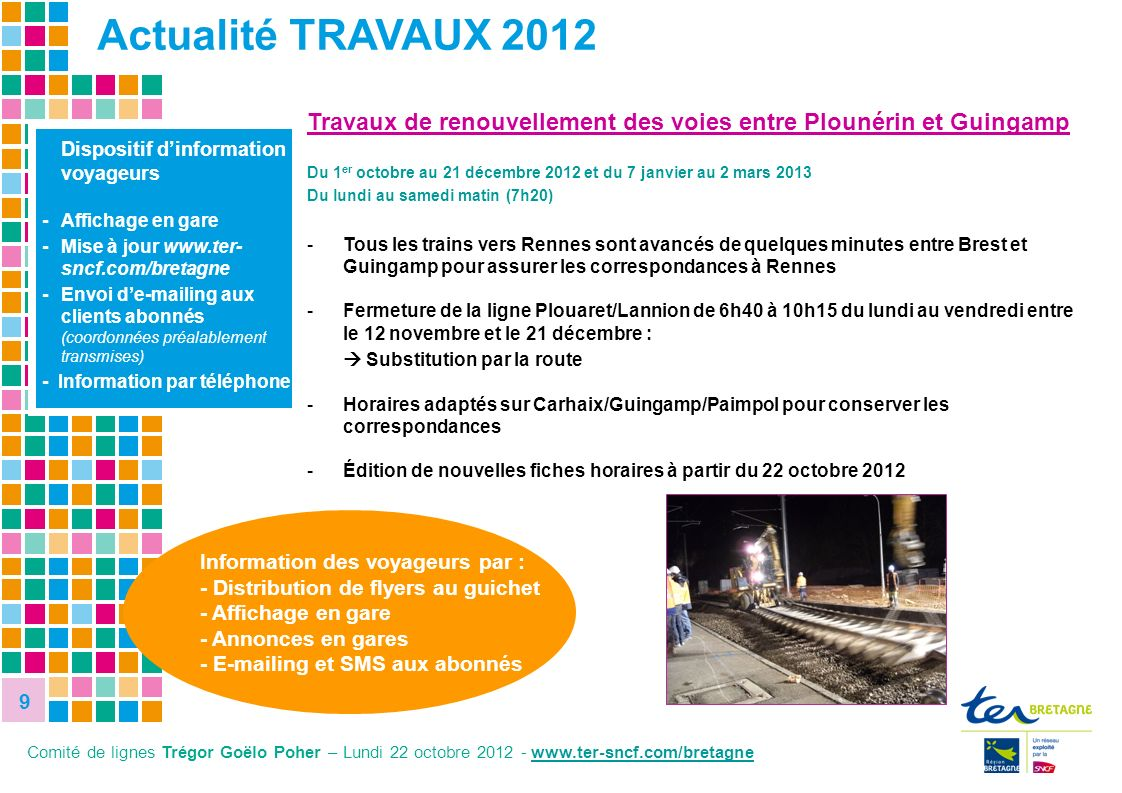 9 Actualité TRAVAUX 2012. Travaux de renouvellement des voies entre Plounérin et Guingamp.