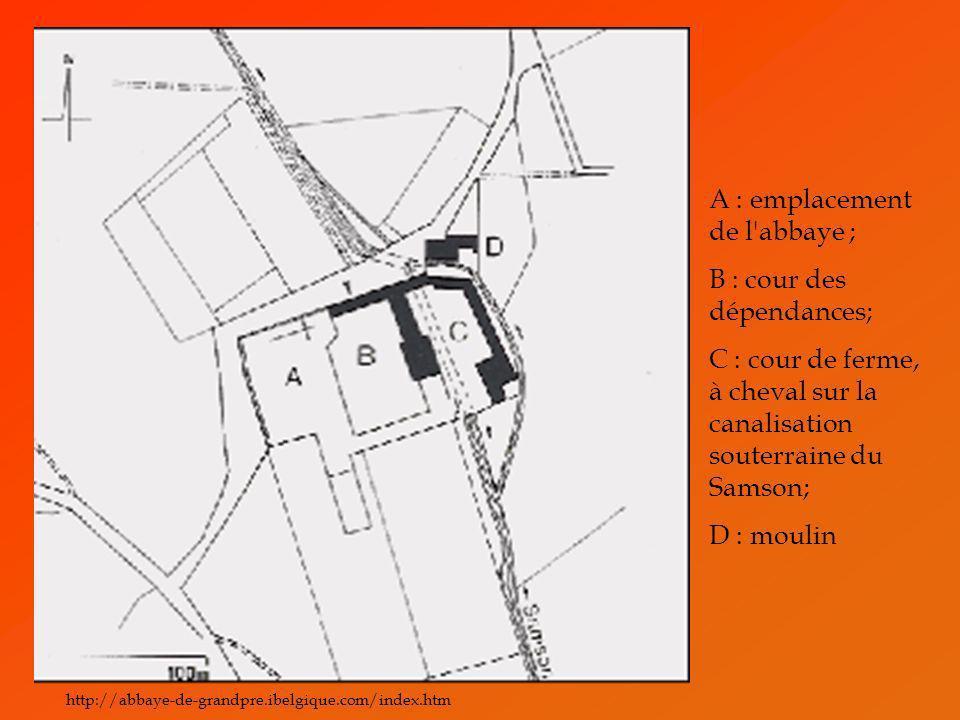 A : emplacement de l abbaye ; B : cour des dépendances;