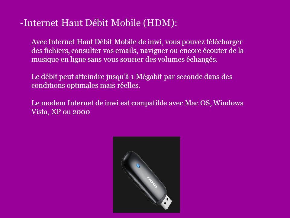 -Internet Haut Débit Mobile (HDM):