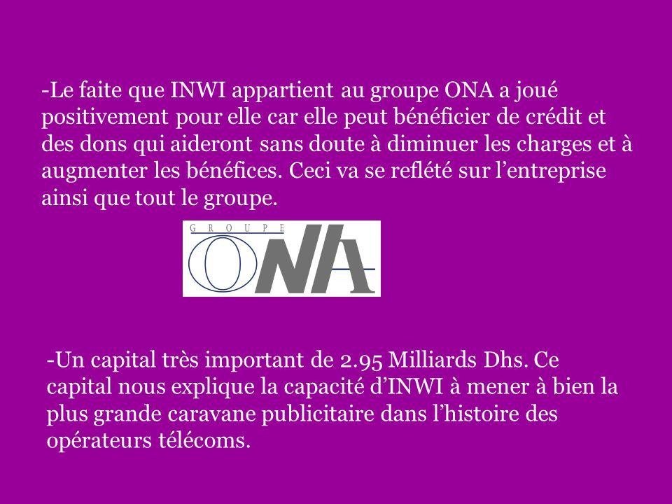 -Le faite que INWI appartient au groupe ONA a joué positivement pour elle car elle peut bénéficier de crédit et des dons qui aideront sans doute à diminuer les charges et à augmenter les bénéfices. Ceci va se reflété sur l'entreprise ainsi que tout le groupe.
