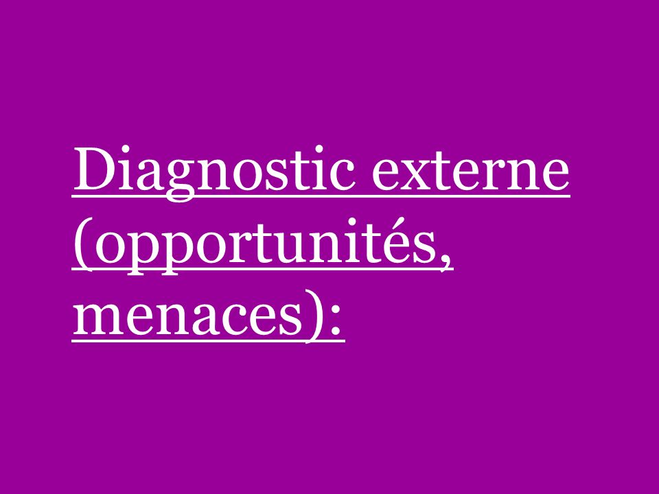Diagnostic externe (opportunités, menaces):