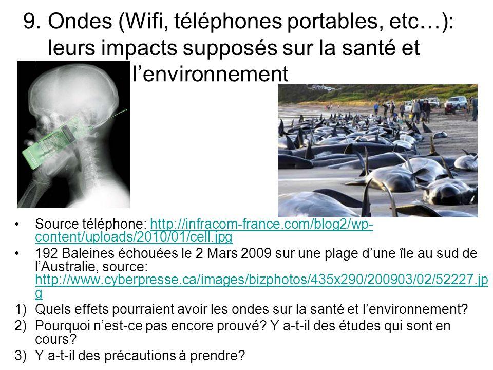9. Ondes (Wifi, téléphones portables, etc…): leurs impacts supposés sur la santé et l'environnement