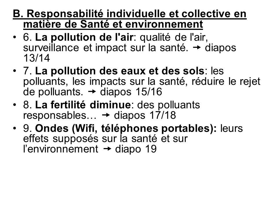 B. Responsabilité individuelle et collective en matière de Santé et environnement