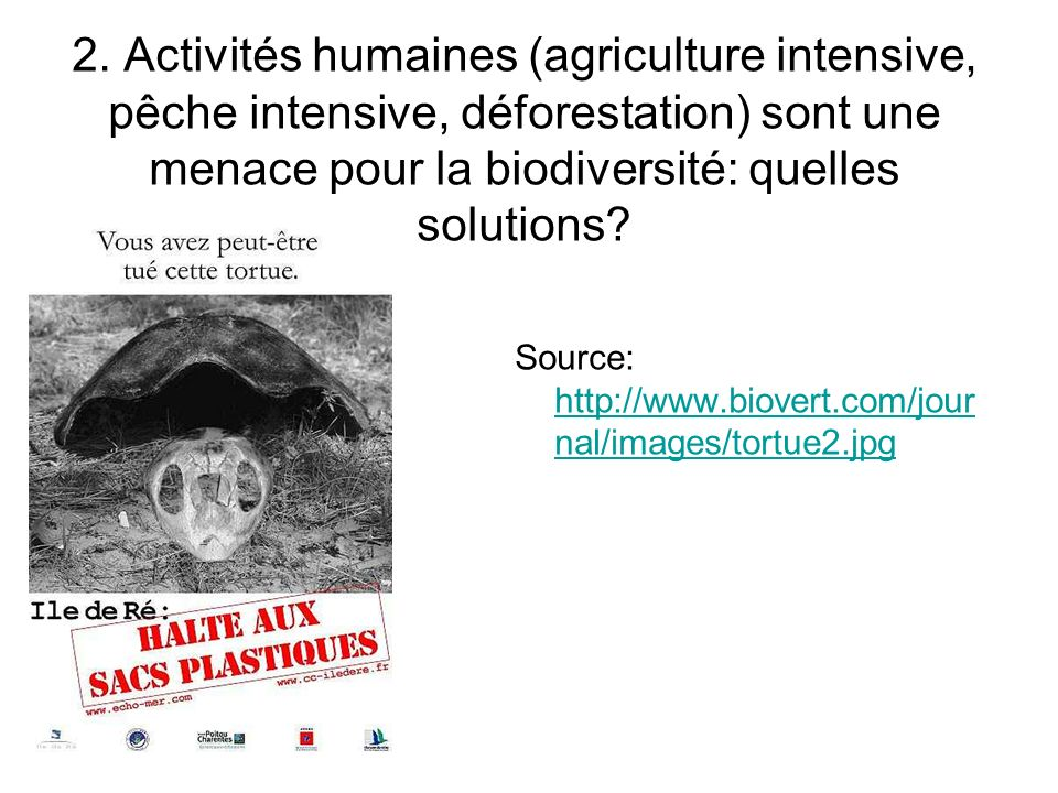 2. Activités humaines (agriculture intensive, pêche intensive, déforestation) sont une menace pour la biodiversité: quelles solutions