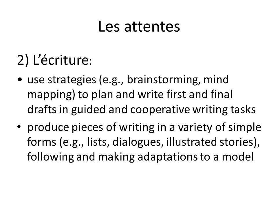 Les attentes 2) L'écriture: