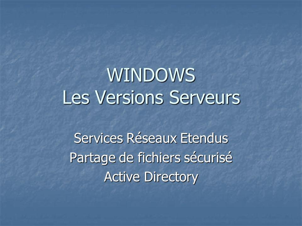 WINDOWS Les Versions Serveurs