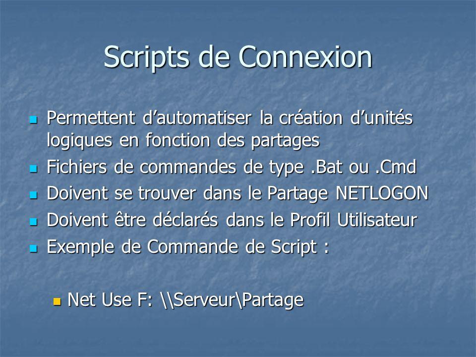 Scripts de Connexion Permettent d'automatiser la création d'unités logiques en fonction des partages.