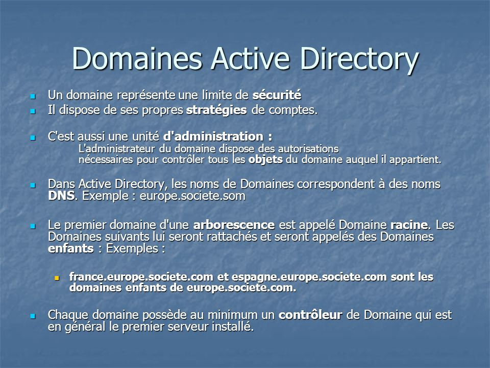 Domaines Active Directory