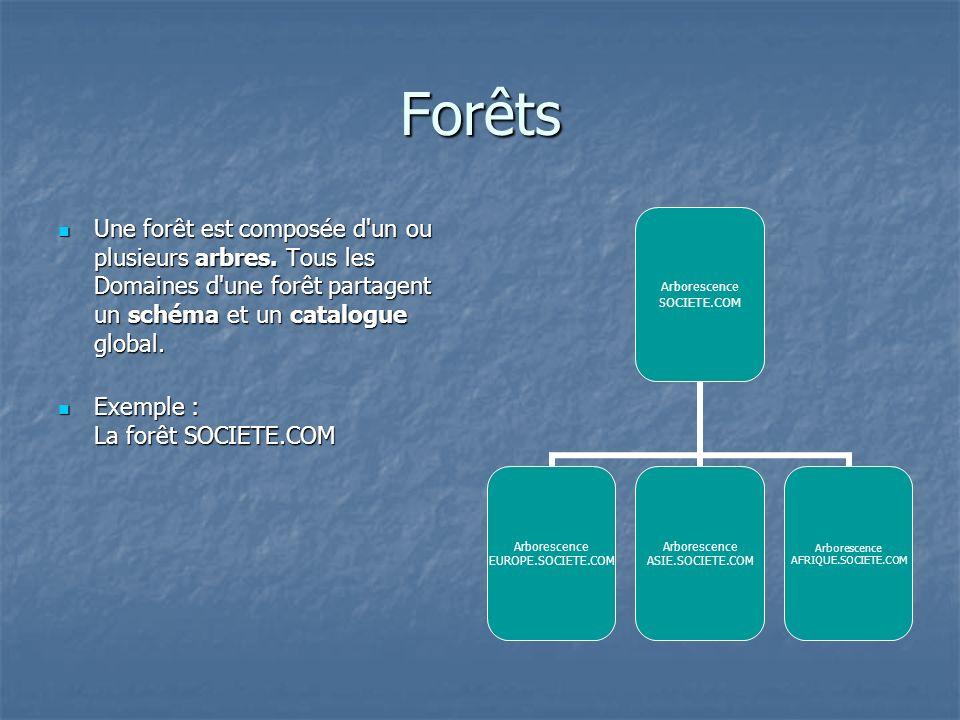 Forêts Une forêt est composée d un ou plusieurs arbres. Tous les Domaines d une forêt partagent un schéma et un catalogue global.