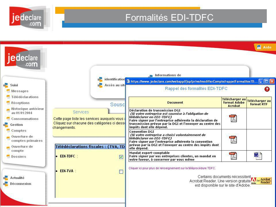 Formalités EDI-TDFC