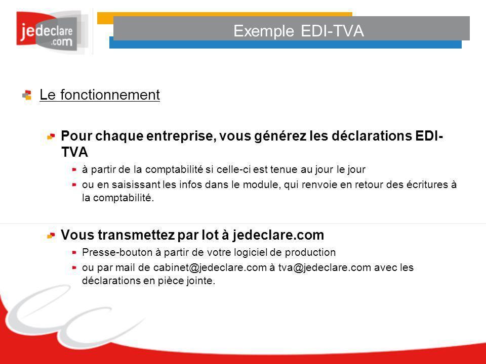 Exemple EDI-TVA Le fonctionnement
