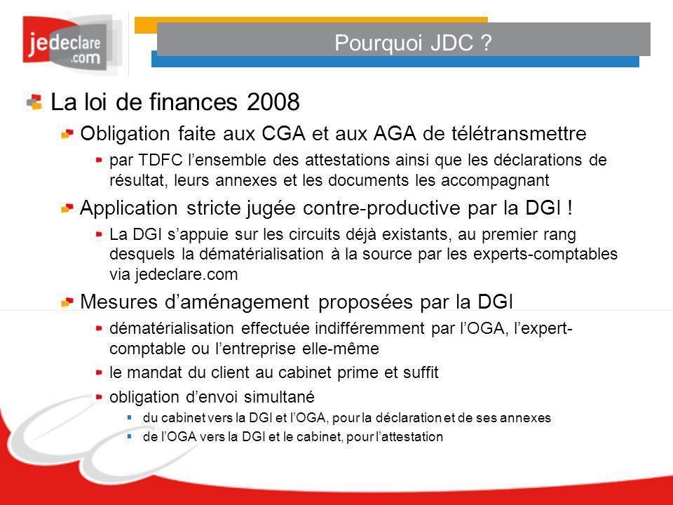 La loi de finances 2008 Pourquoi JDC