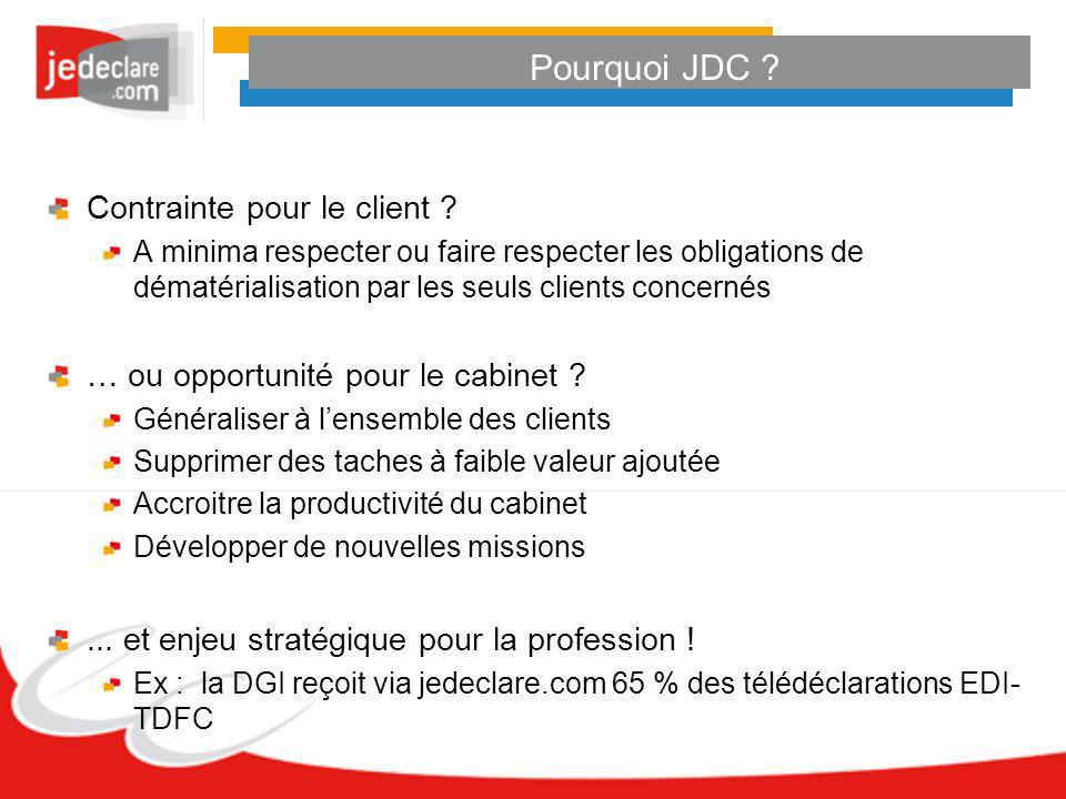 Pourquoi JDC Contrainte pour le client