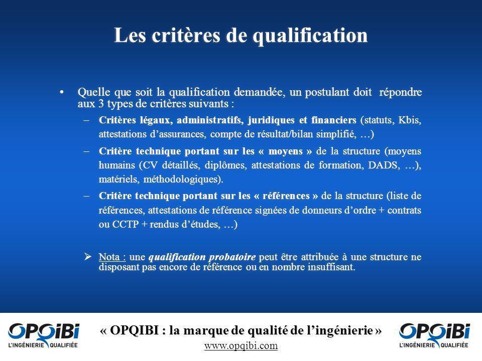 Les critères de qualification
