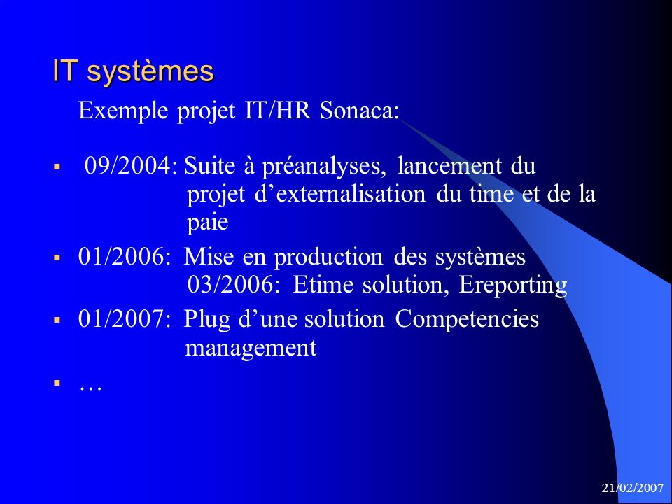 Exemple projet IT/HR Sonaca: