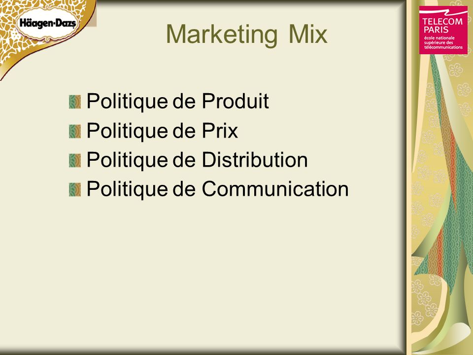 Marketing Mix Politique de Produit Politique de Prix