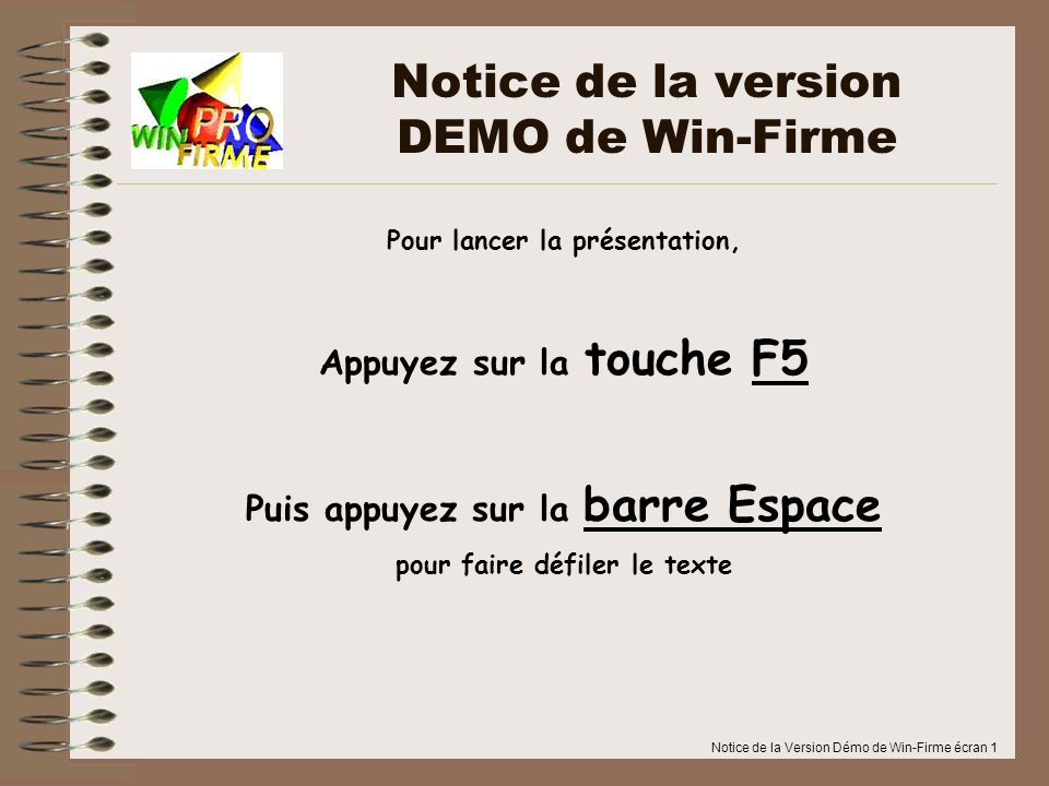Notice de la version DEMO de Win-Firme