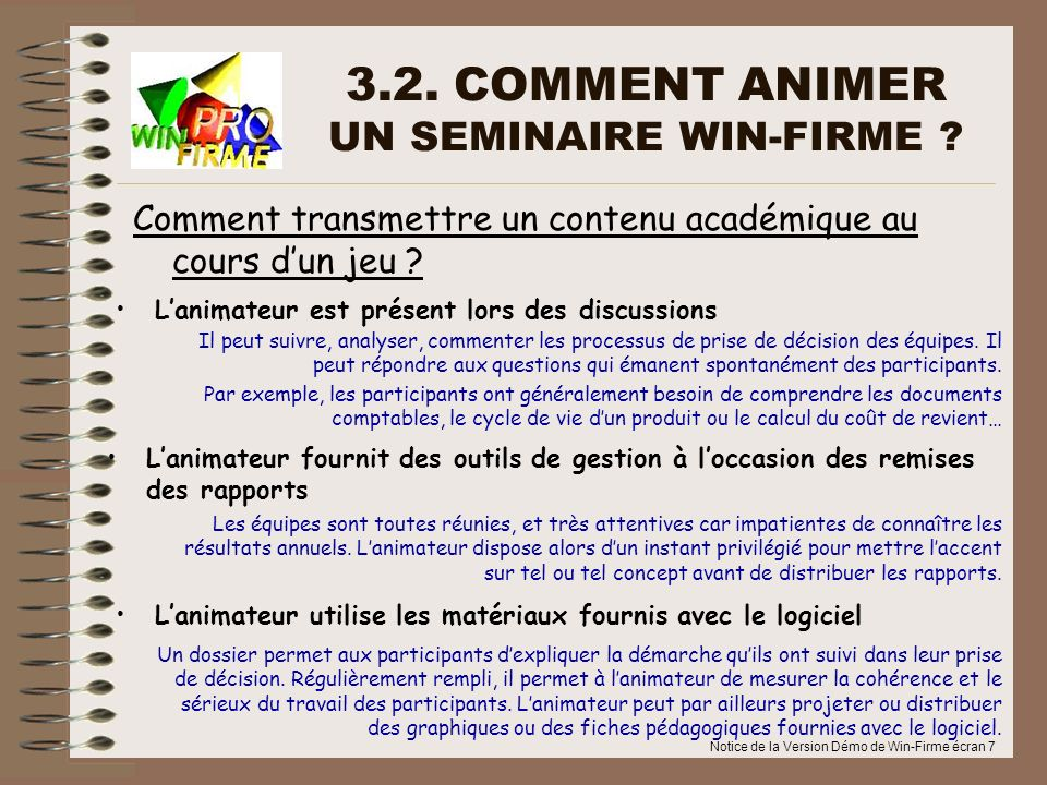 3.2. COMMENT ANIMER UN SEMINAIRE WIN-FIRME