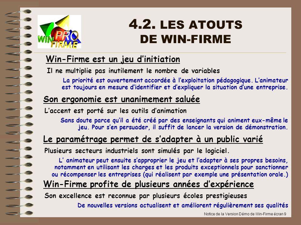 4.2. LES ATOUTS DE WIN-FIRME