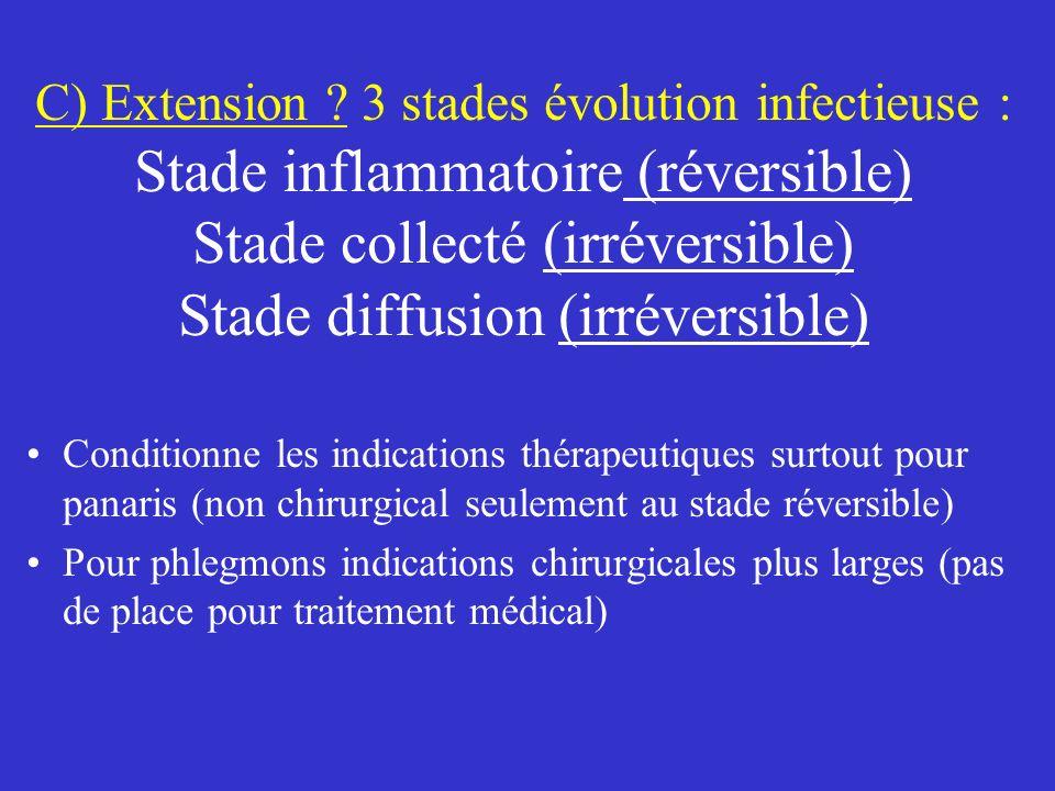 C) Extension 3 stades évolution infectieuse : Stade inflammatoire (réversible) Stade collecté (irréversible) Stade diffusion (irréversible)