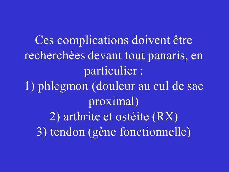 Ces complications doivent être recherchées devant tout panaris, en particulier : 1) phlegmon (douleur au cul de sac proximal) 2) arthrite et ostéite (RX) 3) tendon (gène fonctionnelle)