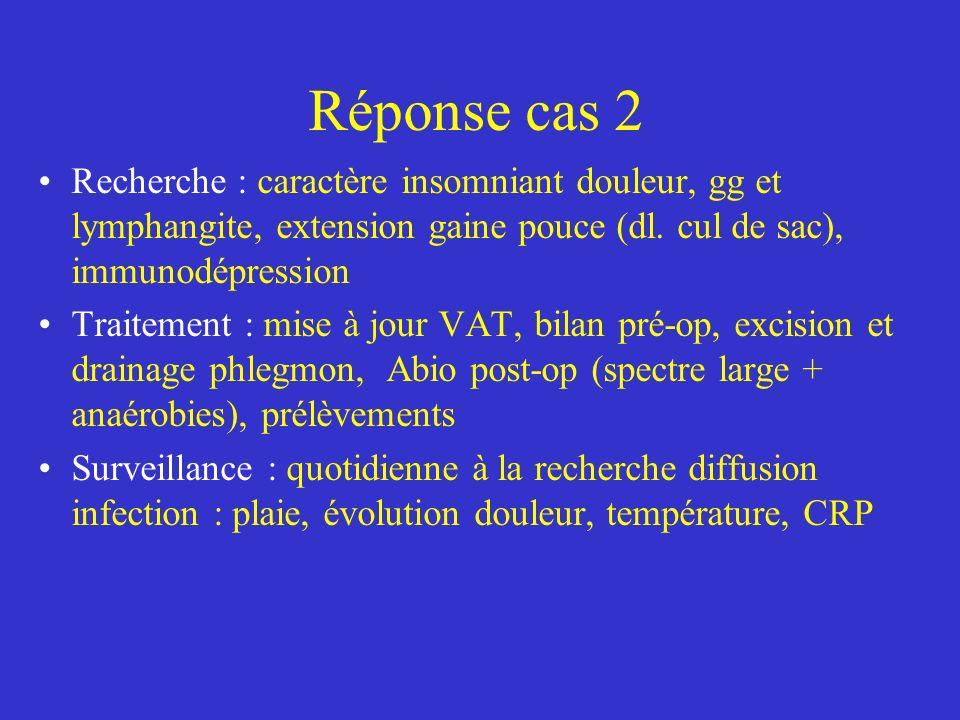 Réponse cas 2 Recherche : caractère insomniant douleur, gg et lymphangite, extension gaine pouce (dl. cul de sac), immunodépression.