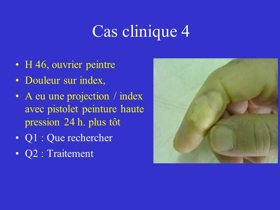 Cas clinique 4 H 46, ouvrier peintre Douleur sur index,