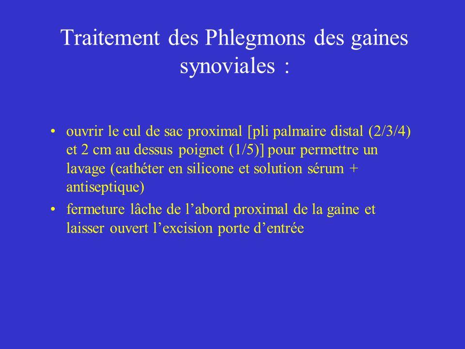 Traitement des Phlegmons des gaines synoviales :