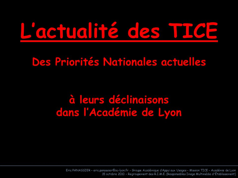 Des Priorités Nationales actuelles dans l'Académie de Lyon