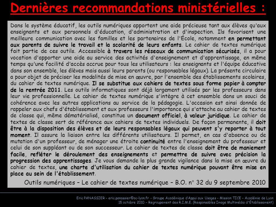 Dernières recommandations ministérielles :